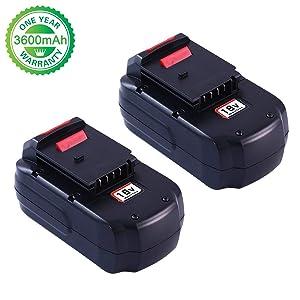 3.6Ah Ni-Mh PC18B Replacement for Porter Cable 18V Battery PCC489N PC18B PC18BLEX PCMVC PCXMVC Cordless Drill Batteries 2 Pack
