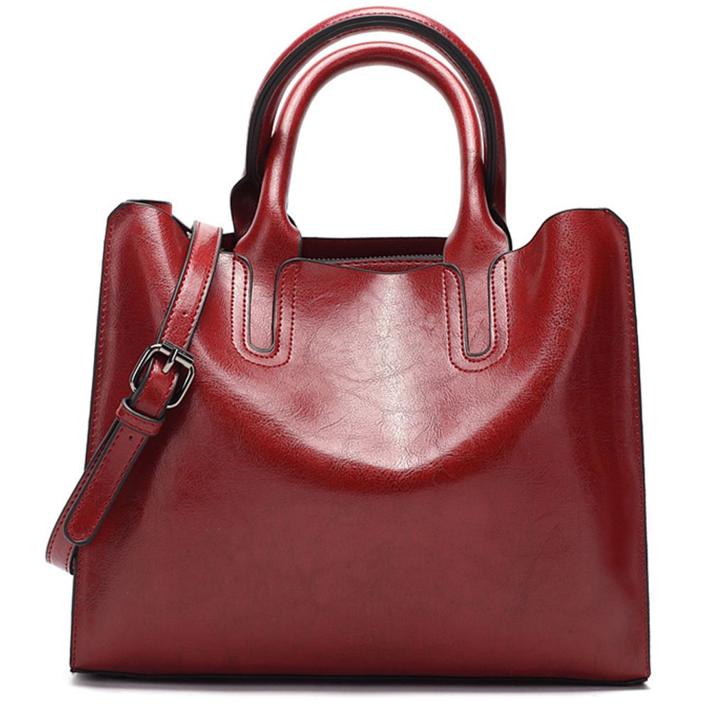 FiveloveTwo Womens Ladies Vintage Solid Color Handbags and Purses PU Leather Top-handle Satchel Hobo Crossbody Totes Shoulder Bags Burgundy