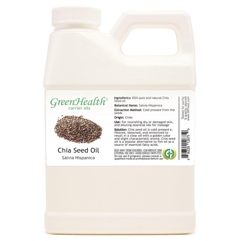 Chia Seed Oil - 16 fl oz (473 ml) Plastic Jug w/Cap - 100% Pure Carrier Oil - GreenHealth by GreenHealth