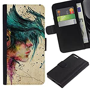 A-type (Music Girl Emo Hipster Beige Paint) Colorida Impresión Funda Cuero Monedero Caja Bolsa Cubierta Caja Piel Card Slots Para Apple (5.5 inches!!!) iPhone 6+ Plus / 6S+ Plus