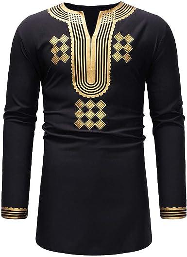 DIKEWANG - Camisa de Vestir para Hombre, Estilo Hipster, Estampado Africano, Tradicional, Estilo Dashiki, Tribal, étnico, Manga Larga, Camisa Africana, Camisa de Lujo para Hombre Negro Negro (L: Amazon.es: Ropa y accesorios