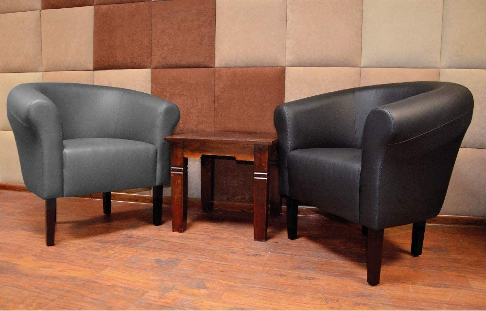 Fortisline Monaco W425 Club / Lounge / Cocktail Chair 2 Inches Faux Leather grey Blue