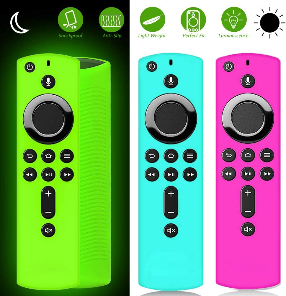 ONEBOM Remote Cover Case 3 Pack,Firestick Cover,Amazon FiretvRemotes for TV Firestick 4K / TV 2nd Gen (3rd Gen Pendant Design) Remote Soft Silicone Case (Green Glow & Rose RED+Sky Blue Not Glow)