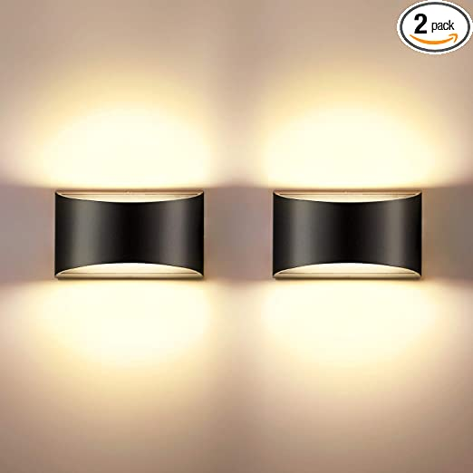 Indoor Dimmable Wall Sconces Sets of 2, SHYVIA Modern Black Led Up Down Wall Lamp, 12W Indoor Hallway Wall Light Fixtures for Living Room, Stair, Bedroom, Warm White,2 Pack