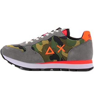 SUN68 Mens Shoes Tom Camouflage Blue Orange Sneaker SS 2019