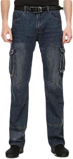 gawaga メンズカジュアルジーンズカーペンターワークパンツマルチポケットカーゴデニムパンツ