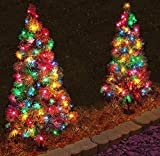 Set of 4, Pre-Lit 2' Tall Artificial Pathway Christmas Trees for Indoor/Outdoor use. Includes 50 multi color led lights, steel ground stake and three point deck stand