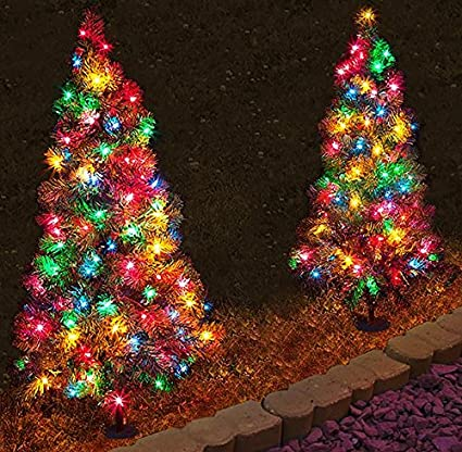 set of 4 pre lit 3 tall artificial pathway christmas trees for indoor - Pre Lit Outdoor Christmas Trees