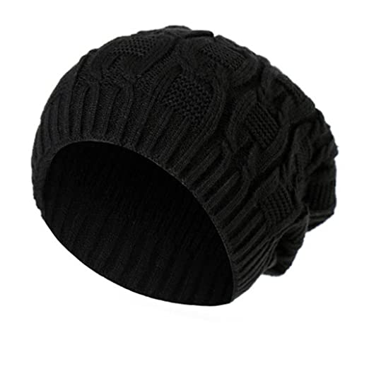 Unisex Thick Wool Knit Baggy Slouchy Beanie Hat Watch Cap for Men Women  (Black) bbe80f9038d
