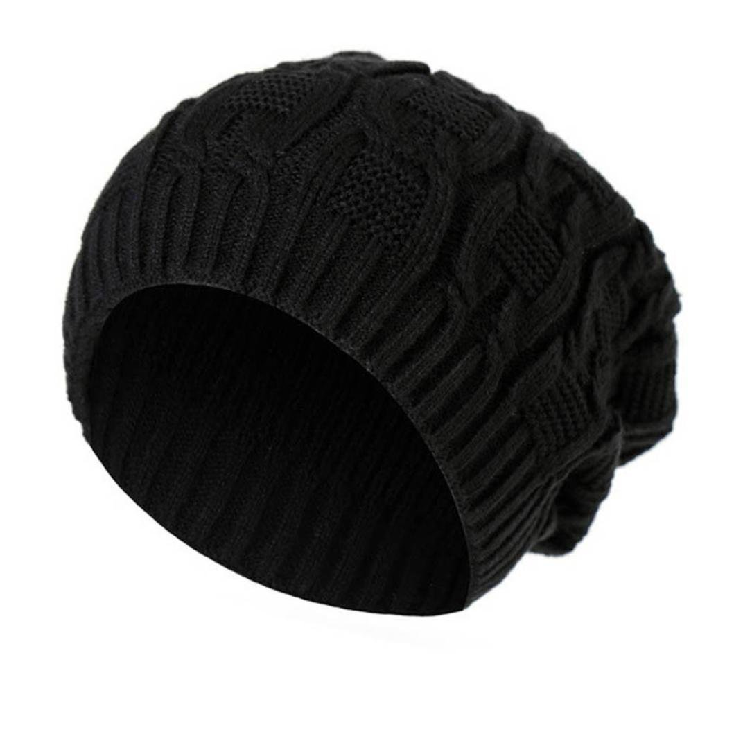 Unisex Thick Wool Knit Baggy Slouchy Beanie Hat Watch Cap for Men Women (Black)