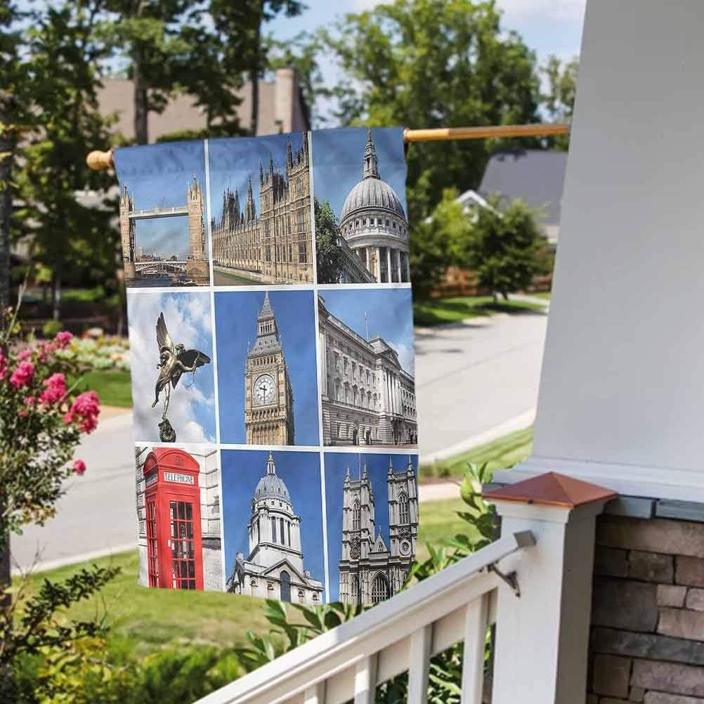 Anmaseven London Flower House Yard Flag Yard Decorations, Home Decorative Historic Landmarks England Garden Size-12 by 18