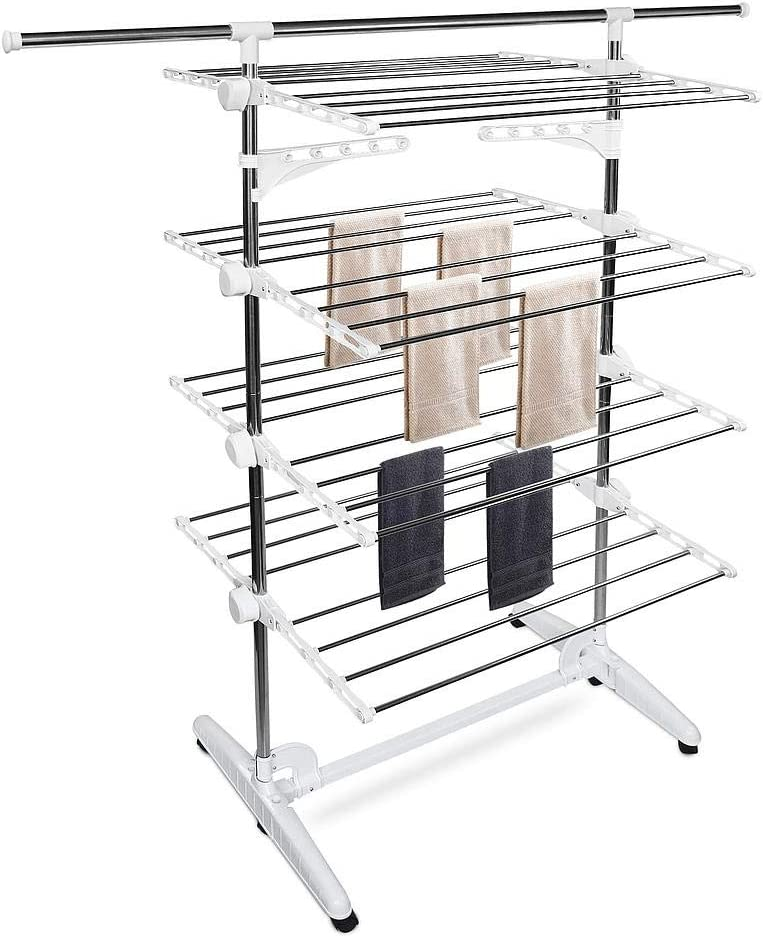 Foldable Extra Large 3 Tier Clothes Airer Laundry Dryer Rack Blue Grey New DR