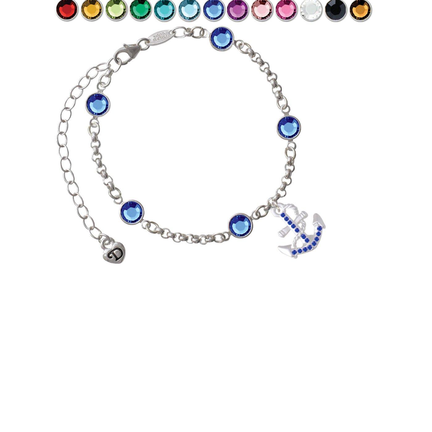 Blue Crystal Anchor Custom Crystal Color Fiona Charm Bracelet