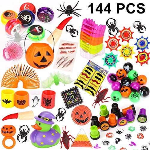 Schour 144 Pieces Halloween Toys Novelty Assortment for Halloween Party Favors, Halloween Gifts,Halloween Prizes,School Classroom Rewards, Trick or Treating -