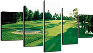 Wall Picture for Living Room Golf Course Canvas Prints Green Grass Field Sunshine Painting Home Decor Modern Landscape Pictures 5 Piece Gallery-wrapped Framed Stretched Ready to Hang(60''Wx32''H)
