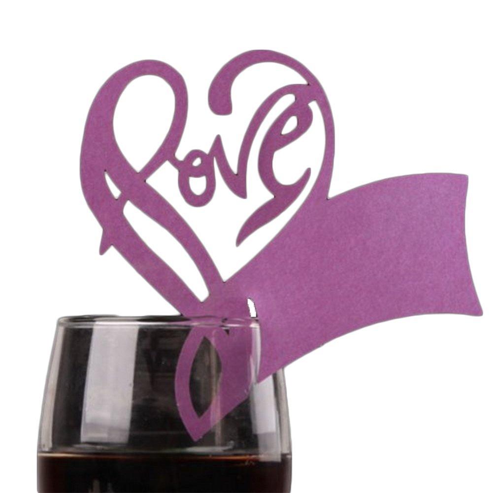 50 x da.WA loving Cup Holder Cut Love cuore segnaposto per champagne/vino in vetro decorazione, matrimonio (viola)