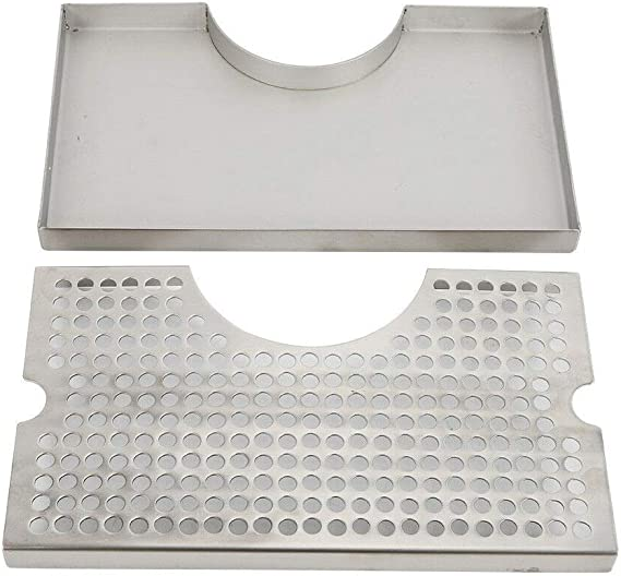 Nrpfell 12 inch Surface Mount Kegerator Beer Drip Tray Stainless Steel Tower Cut Out No Drain