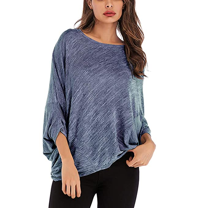 Sttech1 Womens Flower Print V-Neck Long Sleeve Top Button Pullover Plus Size
