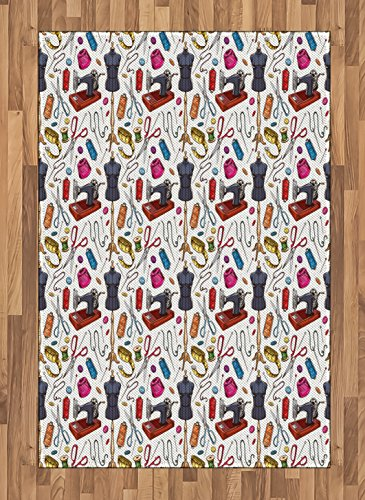 Lunarable Fashion Area Rug, Pattern with Cartoon Tailoring Equipment as Sewing Machine Thread and Tape Measure, Flat Woven Accent Rug for Living Room Bedroom Dining Room, 4 x 5.7 FT, Multicolor