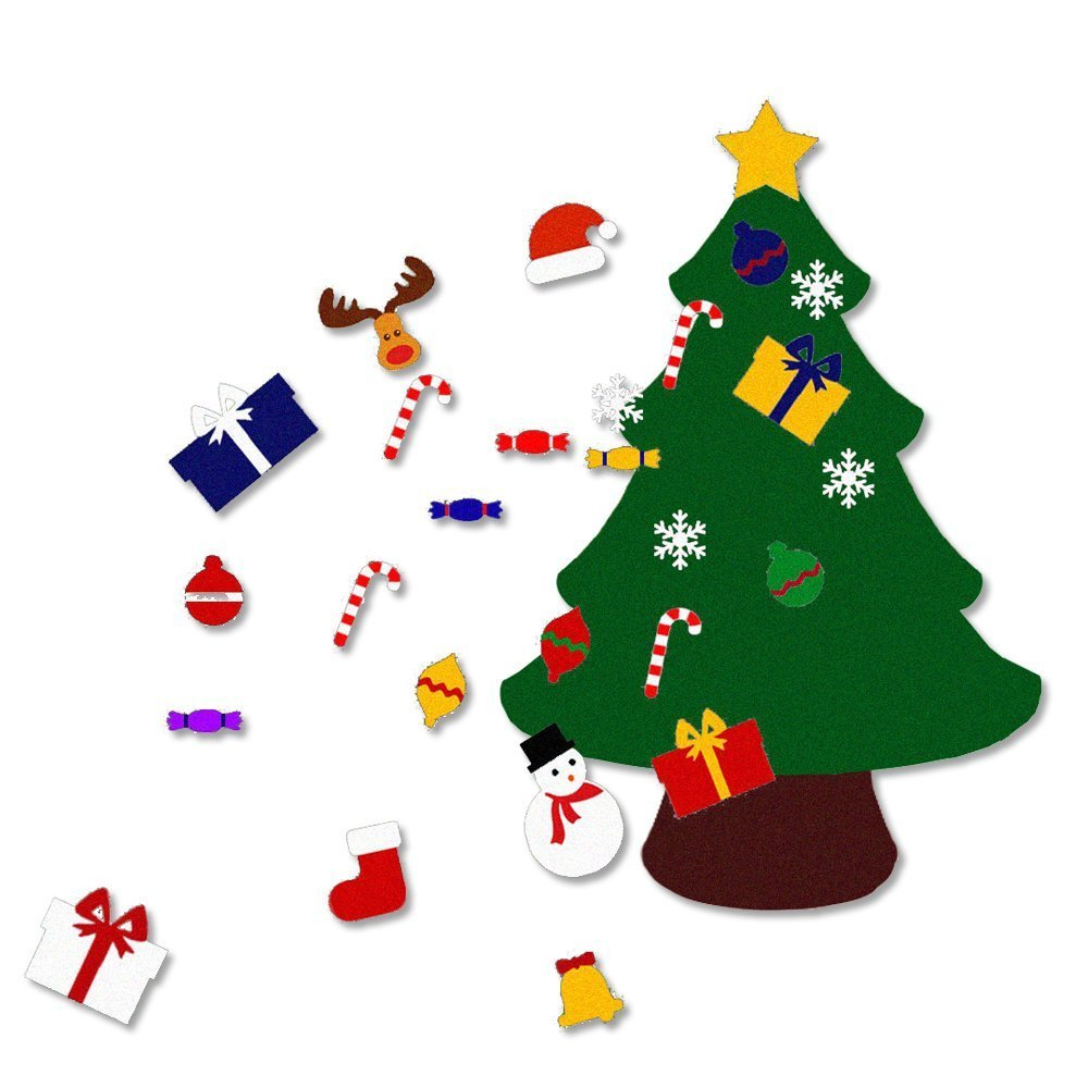 Amazon.com: 3.6FT(Large) Felt Christmas Tree Set with Ornaments ...