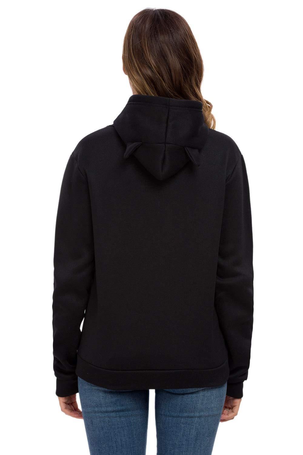 Women Girls Cat Ears Hoodies Sleeping Cat Printed Pullover Sweatershirt (Black,S)