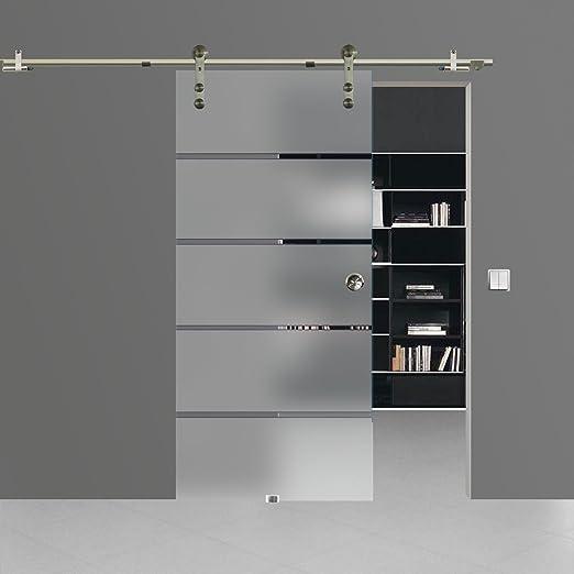 BP1-900A-2 Schiebet/ürsystem ESG 900x2175x8mm Dekor P1 Siebdruck; Edelstahl Laufrollensystem SoftStop; Griffmuschel