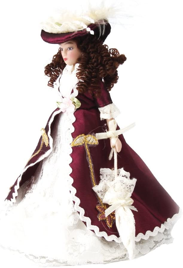 1:12 Dollhouse People Miniature Porcelain Boy Girl Doll Wearing Hat w//Stand
