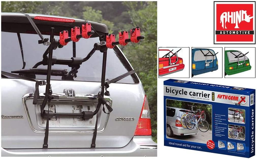 Rhino Automotive/© 3 Bicycle Rear Mount Carrier Car Rack Bike Cycle RW2008