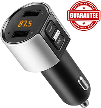Bluetooth Fm Transmitter Vehicle Radio Adapter Fm Transmitter Hands Free Car Kit With 2 Usb Chargers 5v 3 4a For Transferring Music From Mobile Phones And Mp3 Players For Ios And Android Devices