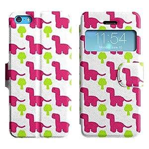 Be-Star Diseño Impreso Colorido Slim Casa Carcasa Funda Case PU Cuero - Stand Function para Apple iPhone 5c ( Pink Dinosaur )