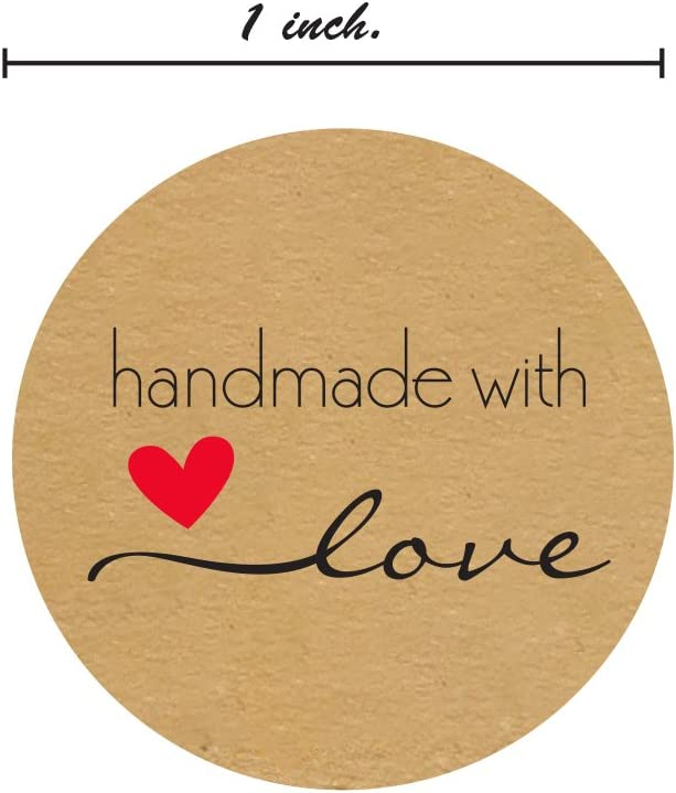1 Inch Round Natural Kraft Handmade with Love Stickers//500 Labels per roll