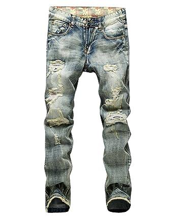 153c2f7ec Homme Skinny Jeans Straight Fit Déchiré Styles Destroyed Denim Slim ...