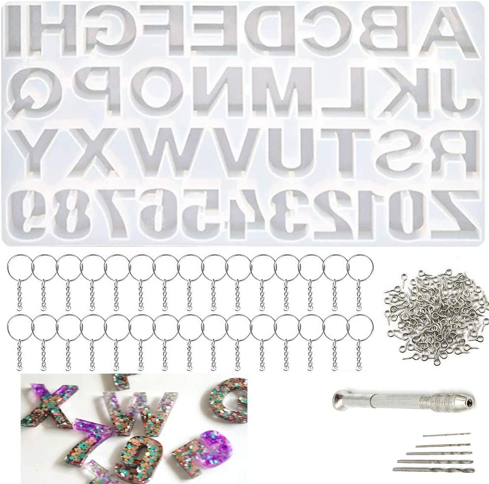 DIY Casting Mold Number Alphabet Silicone Mold Letter Jewelry Making Mold for DIY Sugar Cake Keychain Craft Casting Mould Silicone Mold Set Kit