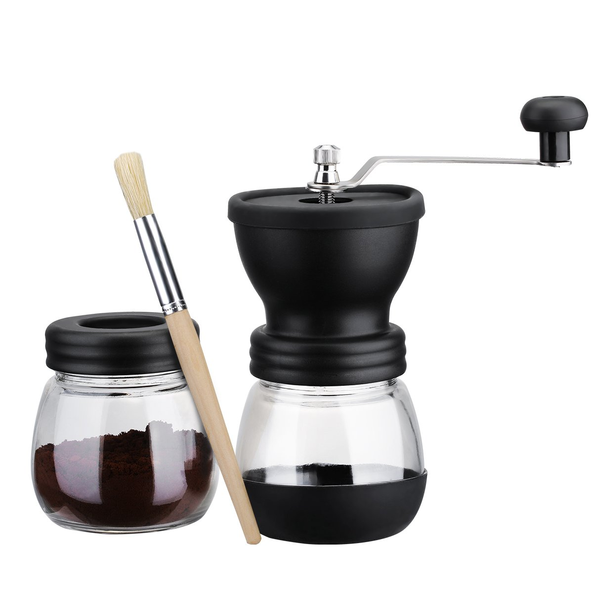 Do4U Manual Coffee Mill Grinder with Ceramic Burrs, Two Clear Glass Jars, Stainless Steel Handle and Silicon Cover (Black)