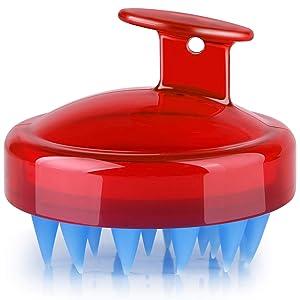 YIBIDINAY Hair Scalp Massager, Original Soft Silicone Shampoo Brush Head Tourmaline Contained (Red)