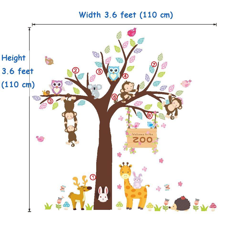EW-0627185 Bear Under Tree ElecMotive Forest Animal Elephant Monkey Owls Bear Tortoise Koala Tree Nursery Wall Stickers Wall Murals DIY Posters Vinyl Removable Art Wall Decals for Kids Girls Room Decoration