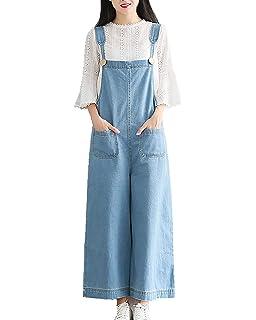 6b455181d4 Women Loose Vintage Baggy Dungarees Belt Jeans Jumpsuits Overalls Trousers  Bib Pants Wide Leg Long Ankle