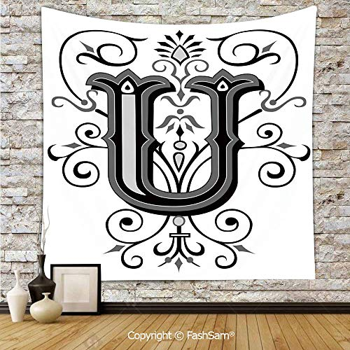 Letters Wall Style Whimsical - Tapestry Wall Blanket Wall Decor Victorian Style Rococo Letter U with Middle Eastern Floral Details Artwork Home Decorations for Bedroom(W59xL90)