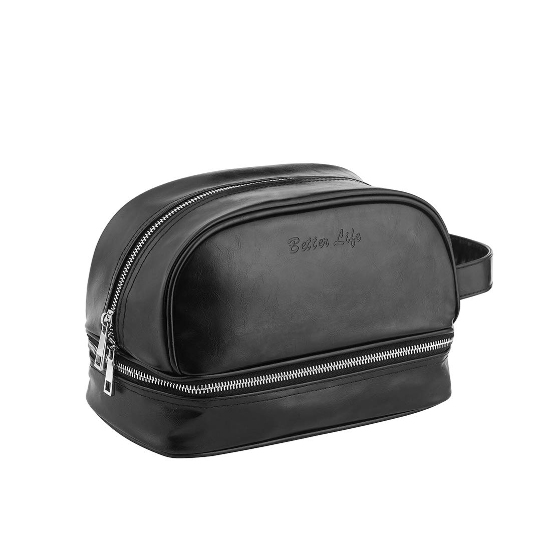 90ef5dd718b Details about Leather Toiletry Bag - Travel Dopp Kit For Men Women    Premium, Compact