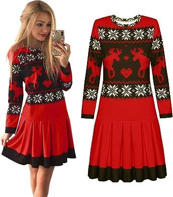 WUSIKY sukienki bożonarodzeniowe dla kobiet prezent dla kobiet sukienka bożonarodzeniowa druk bożonarodzeniowy bluzy z długim rękawem płatek śniegu minisukienka: Odzież