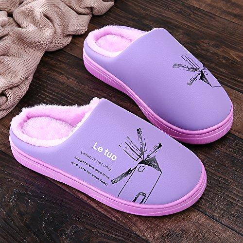 Y-Hui invierno zapatillas de algodón, amantes femeninos que viven en la casa, cubierta de piso impermeable, fondo blando Anti-Skid zapatillas hombres Violet