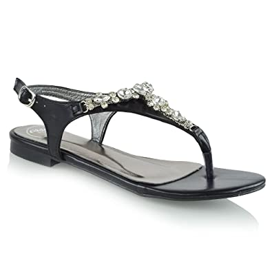 WOMENS SUMMER FLAT COMFORT DIAMANTE STRAP SANDALS LADIES HOLIDAY BEACH SHOES SZ