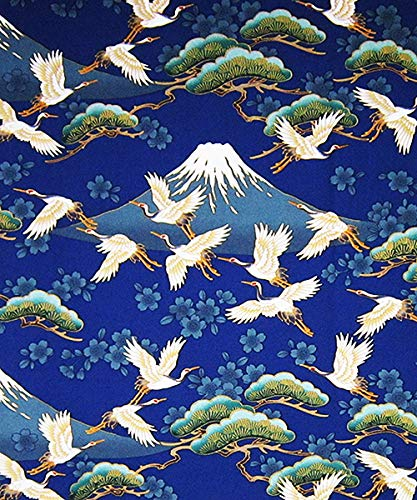 - Cranes in Flight Against Snow-Capped Mt. Fuji - Bue Asian Japanese Fabric (By the Yard)