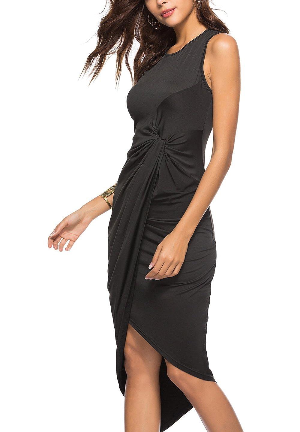3917029a205 YOSICIL Femme Robe Longue Sexy Asymétrique Robe Plissée Noir sans Manches  Elégante Robe de Soirée Cocktail Club  Amazon.fr  Vêtements et accessoires