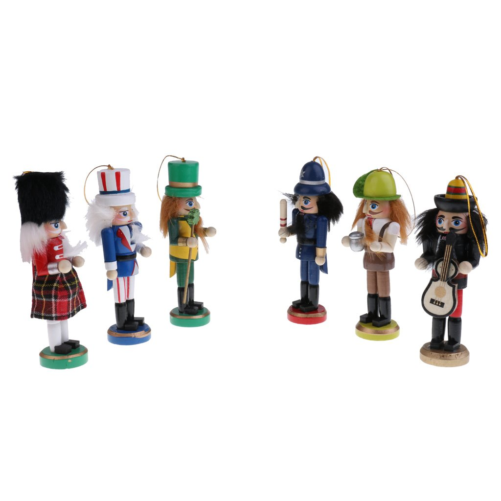 MonkeyJack 6Pcs Traditional Nutcrackers Puppets in Classical Suit 12cm Tall Handmade Wooden Nutcrackers Christmas Tree Decorations Children Kids Xmas Gifts
