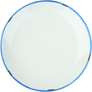 Canvas Home Tinware Dinner Plate with Blue Rim, White- Pack of 4