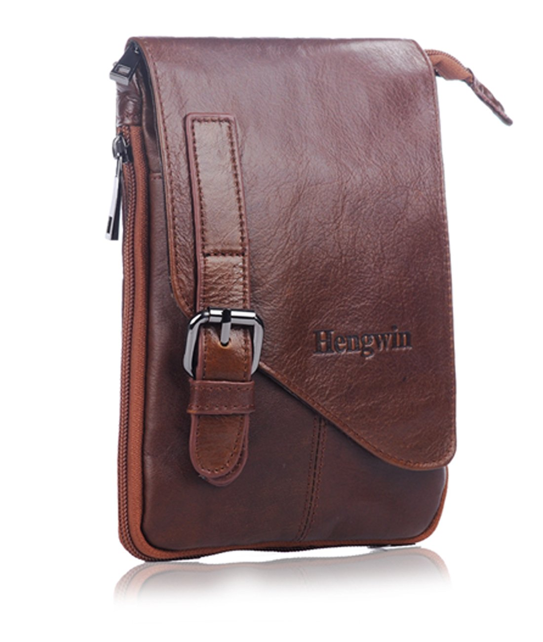 Hwin Vertical Leather Case Pouch Holster Belt Clip for iPhone 6 Plus LG G4 Note 5,Men Crossbody Shoulder Bag+Free Keychain(Coffee)