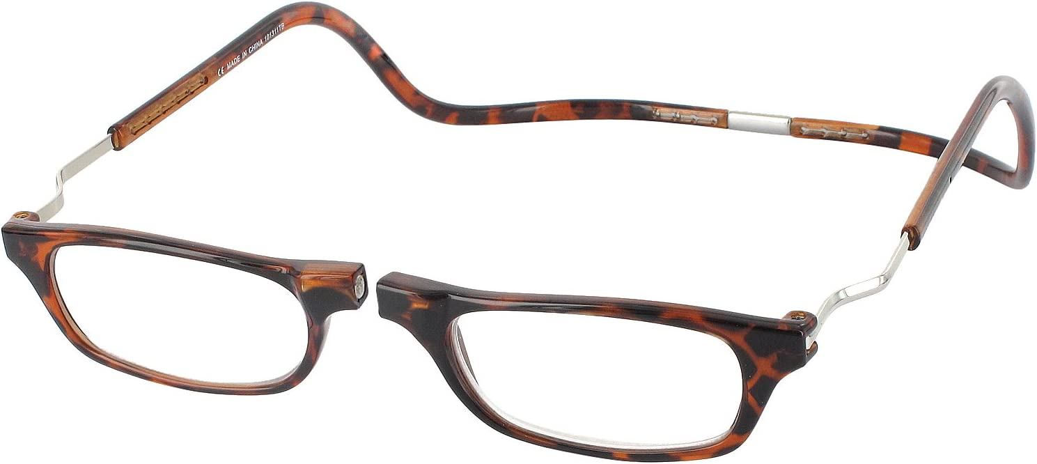 CliC Magnetic Closure Reading Glasses XXL with Adjustable Headband Tortoise 2.50