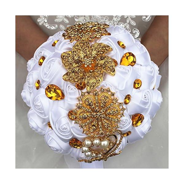MOJUN Romantic Customization Bride Wedding Holding Bouquet Ribbon Roses Bouquet Pearl Gold Diamond Rhinestone Decor(Dia:24cm, White)