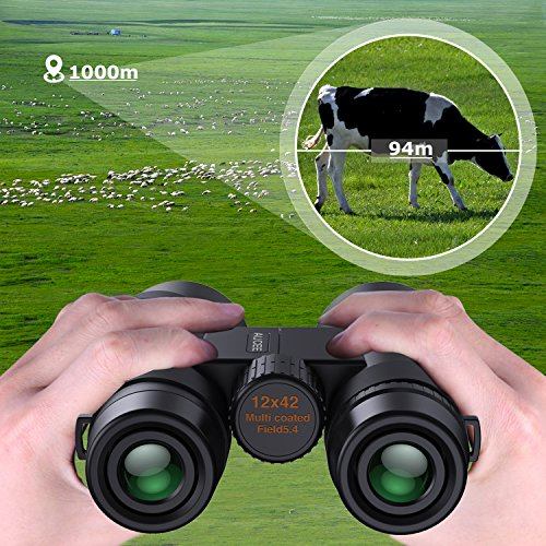12 x 42 Binoculars for Adults, AUCEE Compact Binoculars for Bird Watching Concerts Football Sports Waterproof Professional HD Binoculars for Travel Hiking-BAK4 Prism FMC Lens with Strap Carry Bag by AUCEE (Image #4)